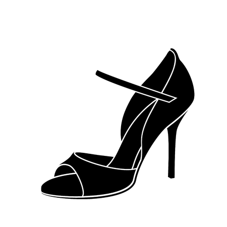 Illustration pour Elegant sketched woman s shoe for Argentine tango dancing. - image libre de droit
