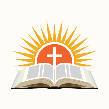 Illustration pour Bible, sunset and cross. Church icon concept. Isolated on white background. Vector illustration - image libre de droit