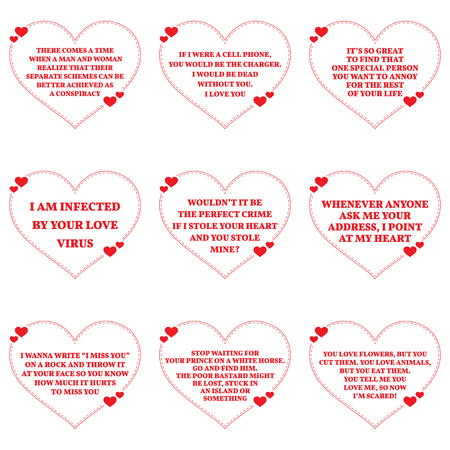 Set Of Funny Love Wishes Quotes Over White Background