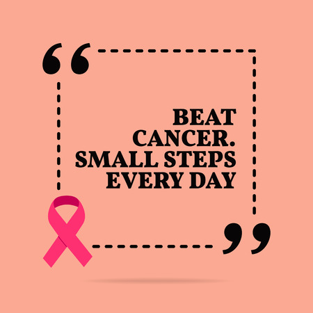 Inspirational motivational quote. Beat cancer. Small steps every day. With pink ribbon, breast cancer awareness symbol