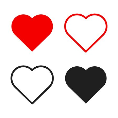 Illustration for Hearts icon set. Live stream video, chat, likes. Social media like web buttons. Isolated on white background. Valentines Day. Vector illustration - Royalty Free Image