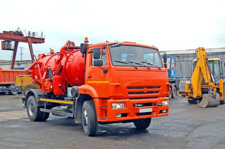 Photo pour Industrial cars. Sewage, septic trucks. bulldozer. Russia - image libre de droit