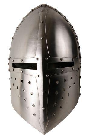 Iron helmet of the medieval knight. Very heavy headdress