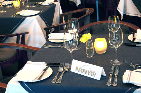 Table in the restaurant. Reserved for guests