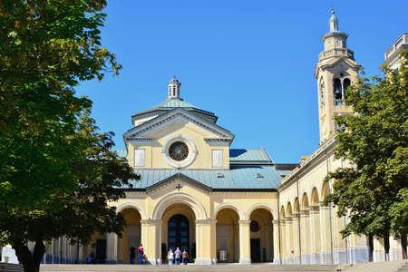 Ceranesi, Genoa, Liguria. View of the churchyard of the Nostra Signora della Guardia sanctuary, the most important Marian shrine in Liguria and one of the most important of Italy.