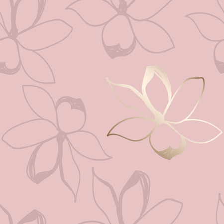 Illustration pour Floral seamless pattern. Pastel colors and gold. Stylized sketch jasmine or magnolia flowers. Great for fabric, wallpaper, wrapping paper, surface design, wedding invitation. Vector illustration. - image libre de droit