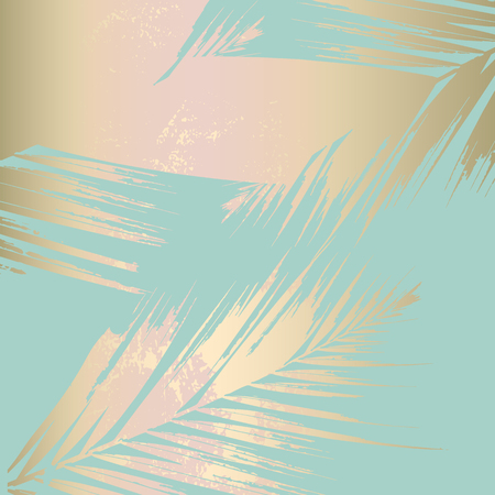 Autumn abstract foliage rose gold blush background. Chic trendy print with botanical motifs