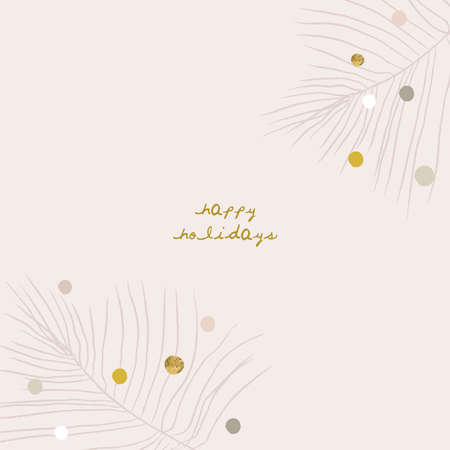 Illustration pour Abstract Christmas greeting card background with colorful confetti and xmas gold foil glitter decoration - image libre de droit