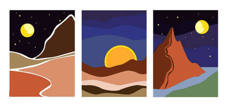 Illustration for Three minimalist landscapes at night vector eps - Royalty Free Image