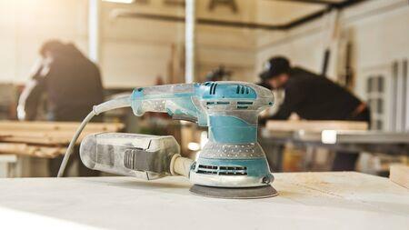 Photo pour Woodworking with style. Close up of wood sanding machine - image libre de droit