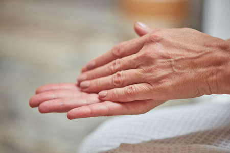 Photo for Beautiful manicured middle aged woman hands - Royalty Free Image