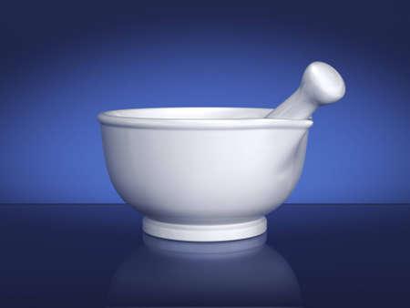 Photo pour White ceramic mortar and pestle on blue background. Includes clipping path. - image libre de droit