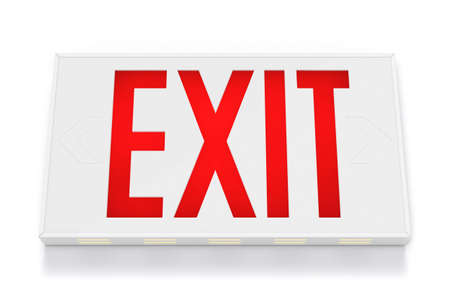 Emergency Exit Sign on White Background