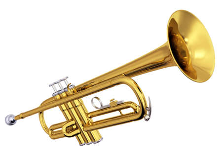 Photo pour Isolated polished brass trumpet. Includes pro clipping path. - image libre de droit