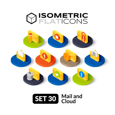 Isometric flat icons, 3D pictograms vector set 30 - Mail and cloud symbol collection
