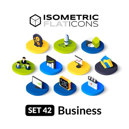 Illustration pour Isometric flat icons, 3D pictograms vector set 42 - Business symbol collection - image libre de droit