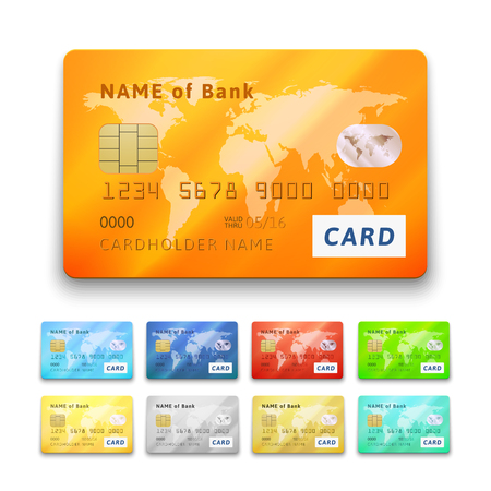 Set of detailed glossy credit cards, blue cyan red orange green yellow gold gray silver color, vector realistic icons isolated on white background