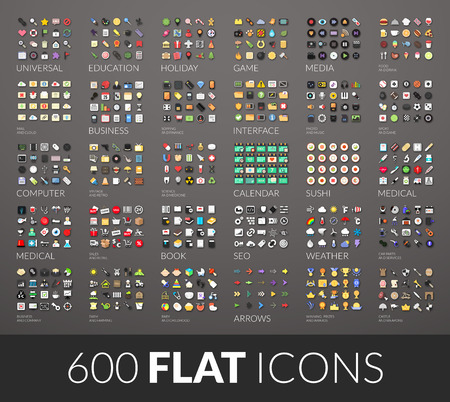 Illustration for Large icons set, 600 vector pictogram of flat colored with shadows isolated on gray background - Royalty Free Image