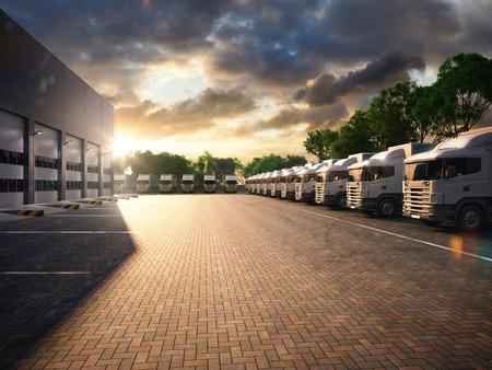 Foto de Truck in parking. Freight. evening tone - Imagen libre de derechos