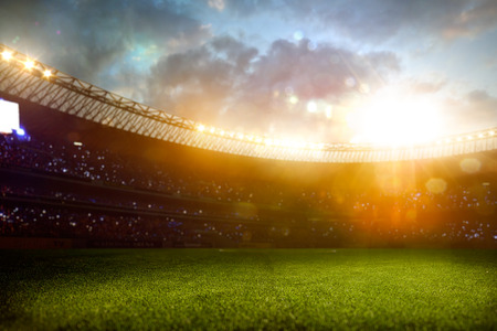 Evening stadium arena soccer field defocus background