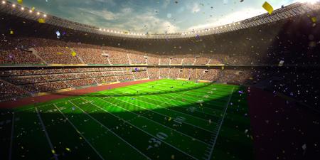 Football Arena Stadium Day championship win. Confetti and tinsel