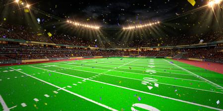 Night stadium arena Football field championship win.  Confetti and tinsel.