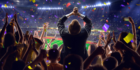 Fans on stadium soccer game Confetti and tinselの写真素材