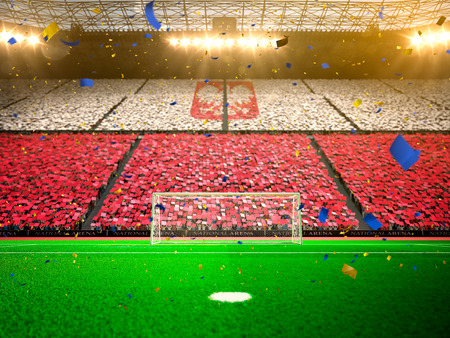 Flag Poland  of fans. Evening stadium arena soccer field championship win. Confetti and tinsel