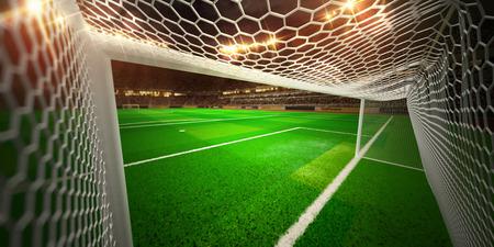 Night stadium arena soccer field championship win. Confetti and tinsel