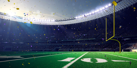 Football Arena Stadium Day championship win. Confetti and tinsel