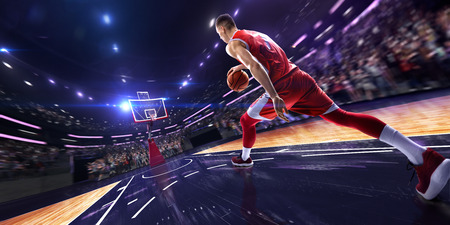 Photo for Basketball player make block shot in jump. around Arena with blue light spot - Royalty Free Image