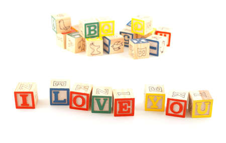 'I LOVE YOU' phrase made using wooden blocks