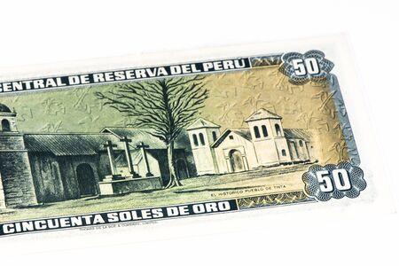 50 soles de oro bank note. Soles de oro is the national currency of Peru