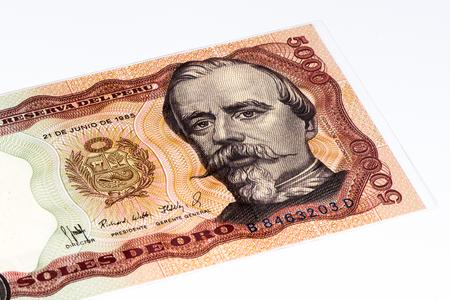 5000 soles de oro bank note. Soles de oro is the national currency of Peru