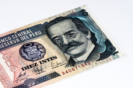 10 intis bank note. Inti is the former currency of Peru