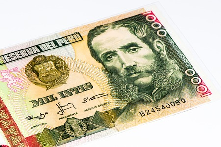 1000 intis bank note. Inti is the former currency of Peru