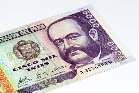 5000 intis bank note. Inti is the former currency of Peru