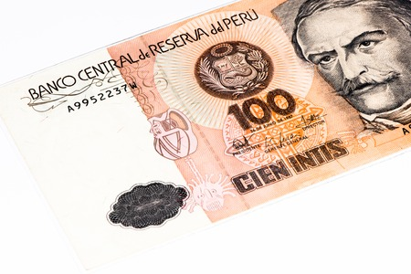 100 intis bank note. Inti is the former currency of Peru