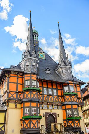 Typical colorful architecture in Wernigerode, a town in the district of Harz, Saxony-Anhalt, Germany