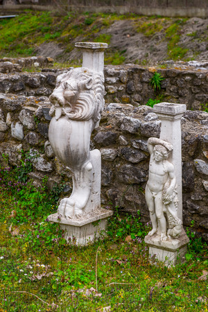 Statues of Sanctuary of Zeus Hypsistos, Dion Archeological Site in Greece