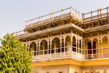 Mubarak Mahal at the City Palace, a palace complex in Jaipur, Rajasthan, India. It was the seat of the Maharaja of Jaipur, the head of the Kachwaha Rajput clan.