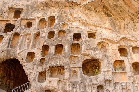 Caves at the Longmen Grottoes ( Dragon's Gate Grottoes) or Longmen Caves.