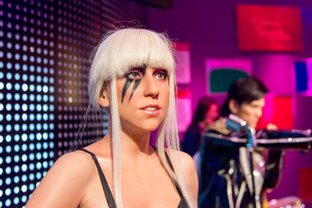 SHANGHAI, CHINA - APR 3, 2016: Lady Gaga at the Shanghai Madame Tussauds wax museum. Marie Tussaud was born as Marie Grosholtz in 1761