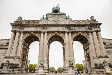 BRUSSELS, BELGIUM - MAY 3, 2015: Cinquantenaire triumphal arch in Brussels, Belgium. Brussels is the capital and largest city of Belgium and the capital of the European Union