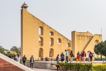 JAIPUR, INDIA - JAN 19, 2016: Part of thr Jantar Mantar, Jaipur a collection of 19 architectural astronomical instruments built by the Rajput king Sawai Jai Singh.UNESCO World Heritage