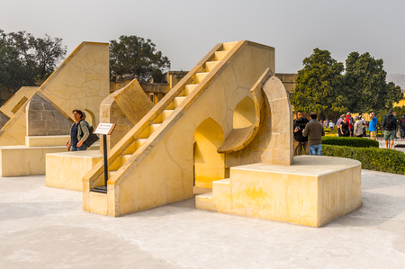 JAIPUR, INDIA - JAN 19, 2016: Jantar Mantar, Jaipur a collection of 19 architectural astronomical instruments built by the Rajput king Sawai Jai Singh.UNESCO World Heritage