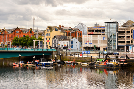 BELFAST, NI - JULY 14, 2016: Architecture of  on the coast of the river Lagan, Belfast, the capital and largest city of Northern Ireland