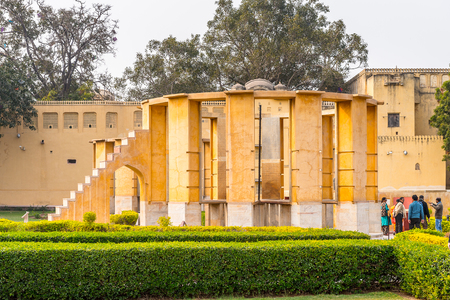 JAIPUR, INDIA - JAN 19, 2016: Architecture of Jantar Mantar, Jaipur a collection of 19 architectural astronomical instruments built by the Rajput king Sawai Jai Singh.UNESCO World Heritage
