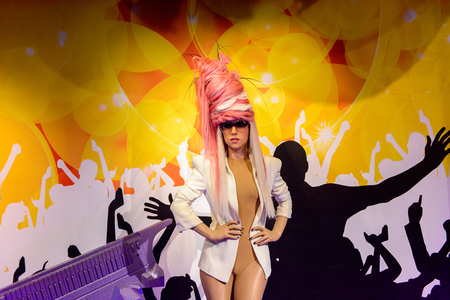 AMSTERDAM, NETHERLANDS - OCT 26, 2016: Lady Gaga, Madame Tussauds wax museum in Amsterdam. One of the popular touristic attractions