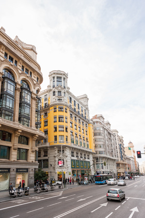 MADRID, SPAIN - JAN 29, 2015: Architecture of Gran Via avenue (Broadway of Madrid), Madrid, Spain, Madrid is the capital and the largest city of Spain,